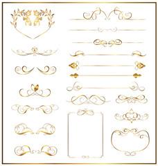 set calligraphic gold