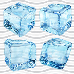 Transparent blue ice cubes. Transparency only in vector file