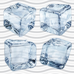 Transparent light blue ice cubes. Transparency only in vector