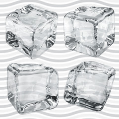 Transparent gray ice cubes. Transparency only in vector file
