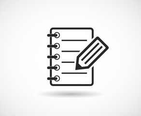 notepad with pen pencil icon