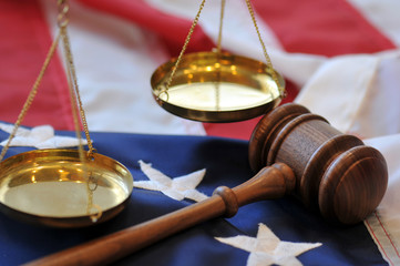 Gavel and flag - American justice