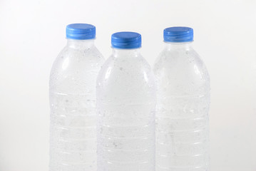Stock image of purified water bottle over white background