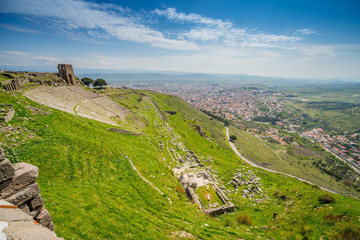 View over the ancient city of Pergamon and Bergama.