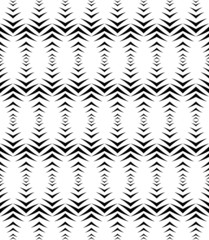 Black and white geometric seamless pattern with chevron.