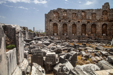 ancient monuments in Side, Turkey