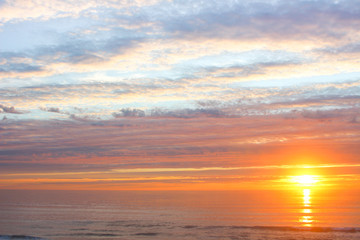 Vibrant Sunrise over the Pacific Ocean. La Selva Beach, Aptos, Santa Cruz County, California, USA.