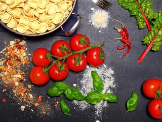 top view of pasta ingredients