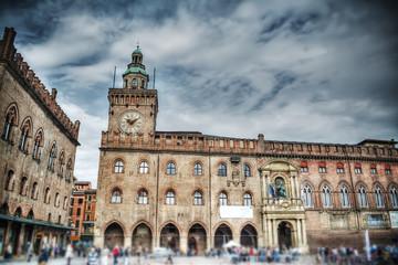 Foto op Textielframe Artistiek mon. Palazzo d'Accursio in Piazza Maggiore, Bologna