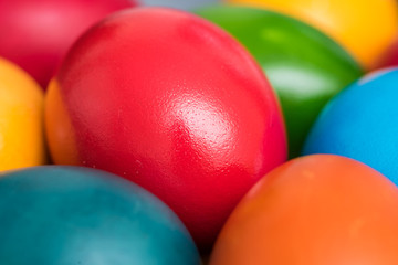 Colorful Easter Eggs In Basket Close Up