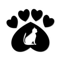 Paw Sign, Cat, Heart - illustration