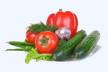 vegetables on white background