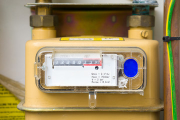 Gas meter installation closeup