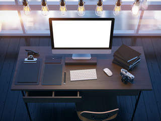 Mock up of modern workspace. 3D rendering