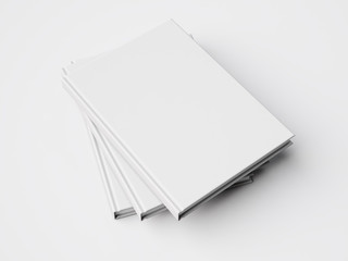 Three white books. 3d rendering