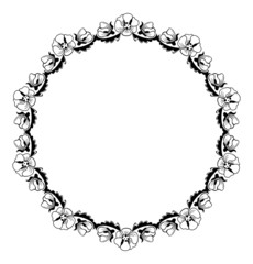 Round outline frame with flowers