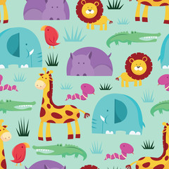 Cartoon Safari Animals Seamless Pattern Background