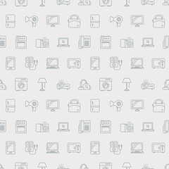 Home appliances line icon pattern set