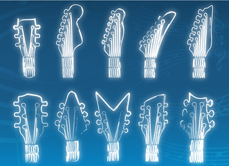 Guitar Head Drawing Vector blue background