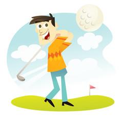 Cartoon Happy Golfer