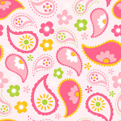 Pink Spring Paisley Seamless Pattern Background