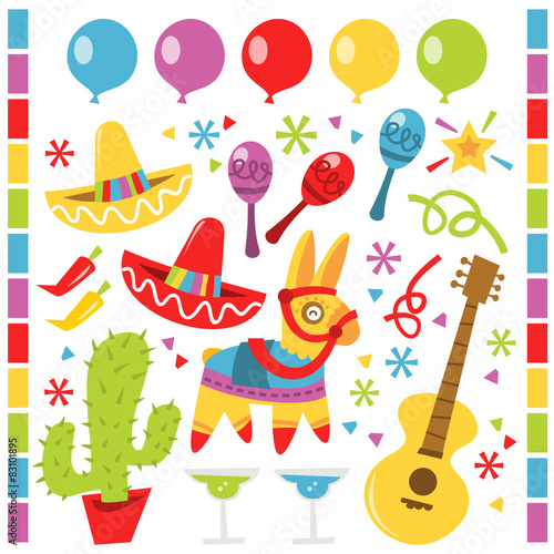 """Retro Mexican fiesta party design elements"" Stock image ..."
