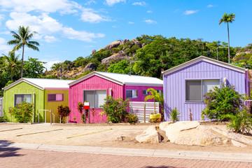 Beach huts in tropical resort