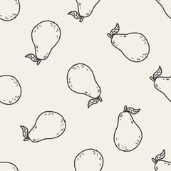 guava doodle seamless pattern background