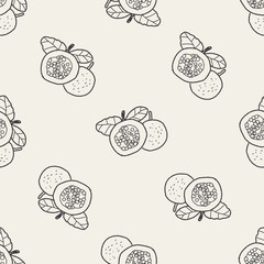 Passion Fruit doodle seamless pattern background