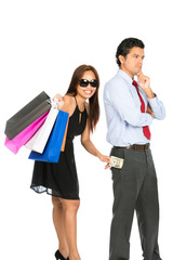 Shopping Smiling Female Removing Money Husband V