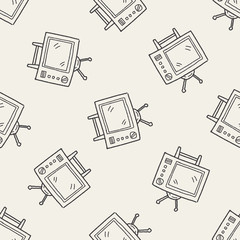 Doodle TV seamless pattern background