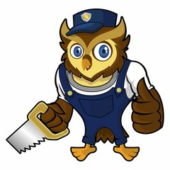 Owls mechanic holding a handsaw