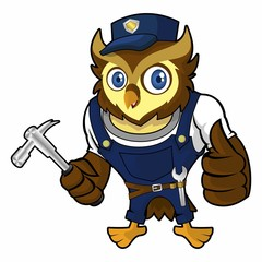 Owls mechanic holding a hammer
