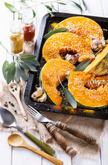 Cooking pumpkin with herbs and spices
