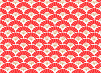 Japan and China Fans Seamless Pattern
