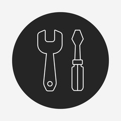 Screwdrivers and wrench line icon