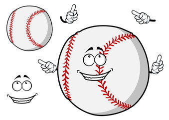 Happy cartoon baseball ball pointing its fingers