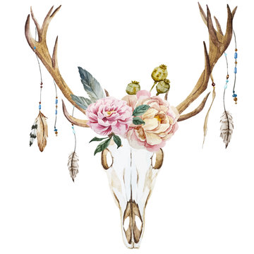 Watercolor deer head with wildflowers