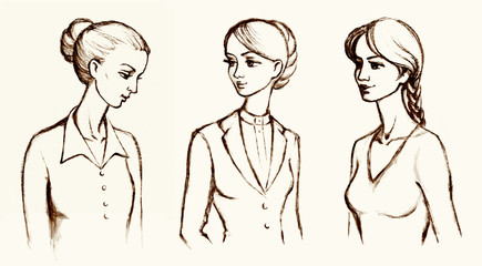 Pencil sketch of a series of drawings female portraits