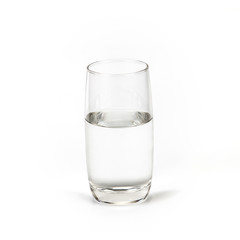 Glass of fresh drink water on white backgrund