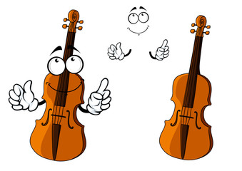 Cartoon smiling brown violin character