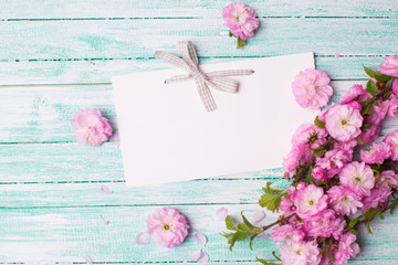 Postcard with pink flowers and empty tag for your text