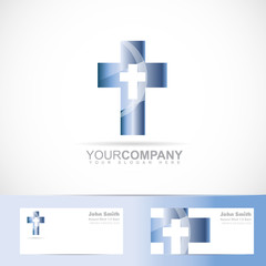 Blue cross 3d metal logo