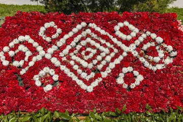 Installation of carnations on a flower festival in Baku