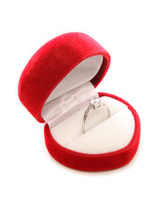 diamond engagement ring in heart box