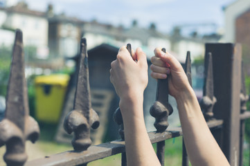 Female hands holding a fence