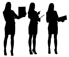 Silhouettes of businesswoman with folder