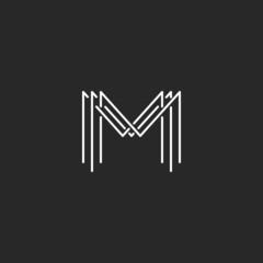 Monogram logo lettering letter M, business card mockup