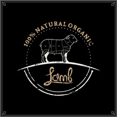 Butcher Shop Logo, Meat Label Template, Lamb Cuts Diagram