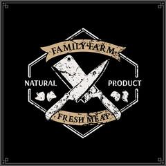 Butcher Shop Logo, Meat Label Template, Farm Animals Icons